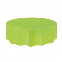 Lime Green Table Cloth - Plastic Round Tablecover 1pc